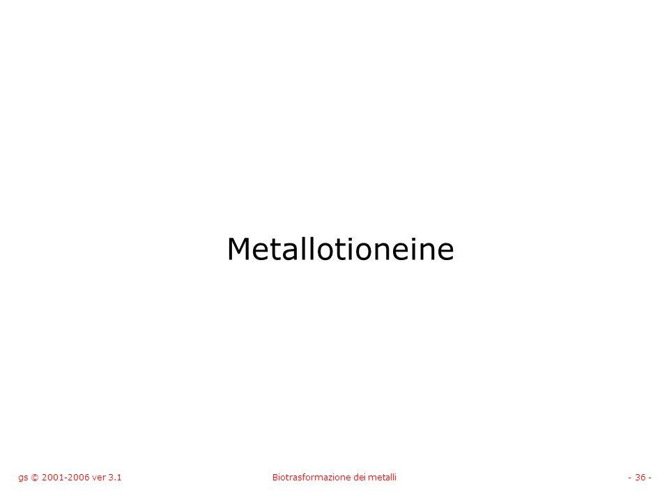 gs © 2001-2006 ver 3.1Biotrasformazione dei metalli- 36 - Metallotioneine