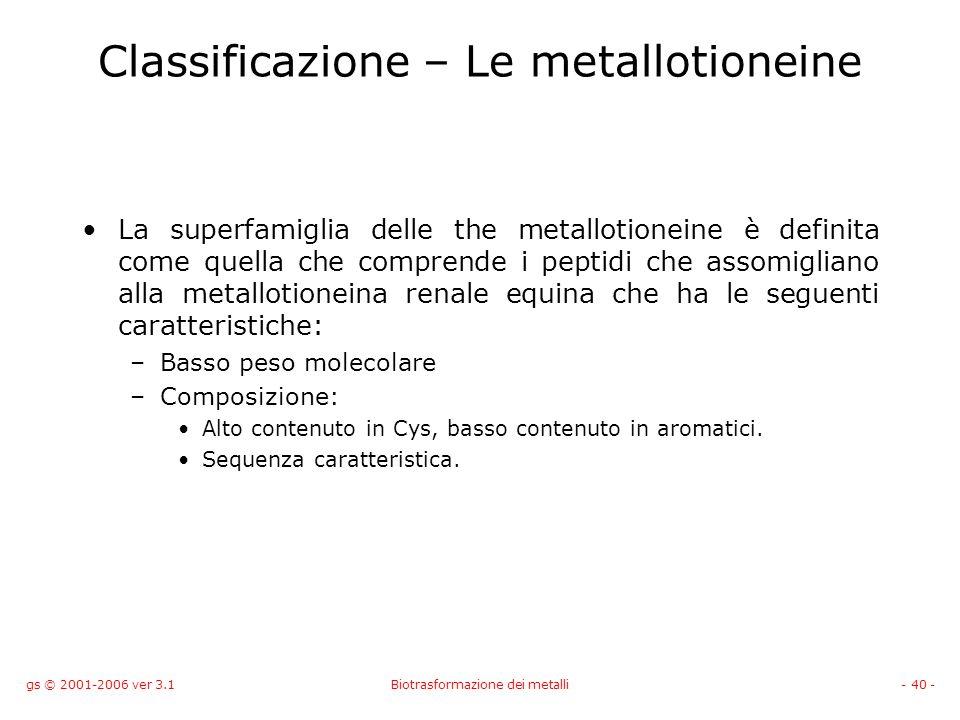 gs © 2001-2006 ver 3.1Biotrasformazione dei metalli- 40 - Classificazione – Le metallotioneine La superfamiglia delle the metallotioneine è definita c