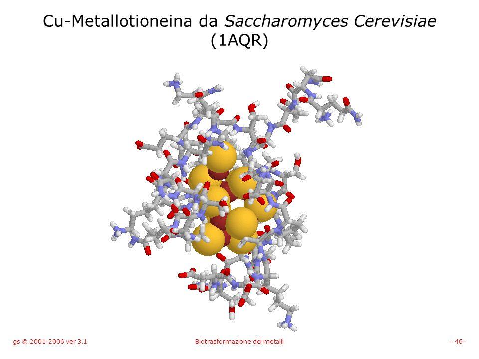 gs © 2001-2006 ver 3.1Biotrasformazione dei metalli- 46 - Cu-Metallotioneina da Saccharomyces Cerevisiae (1AQR)