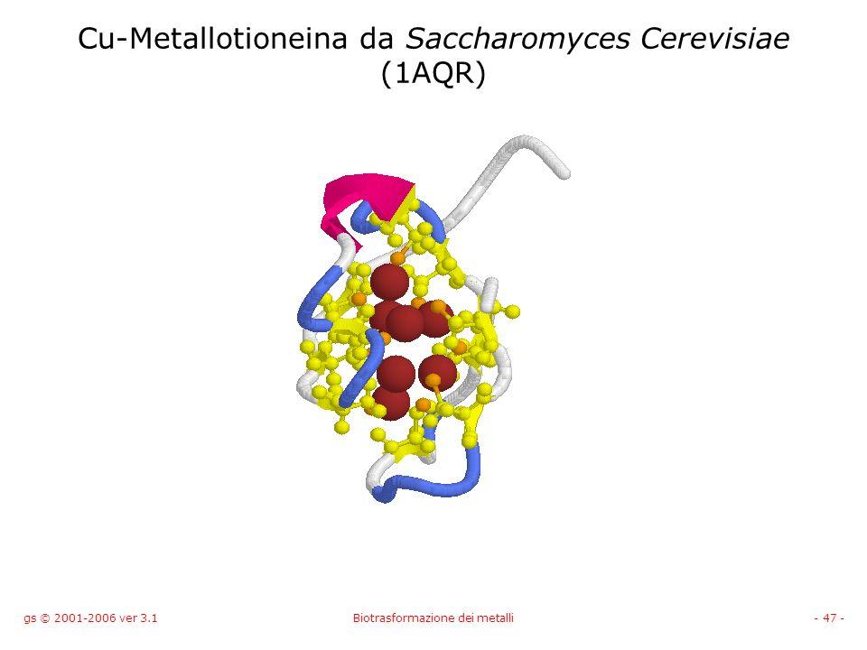 gs © 2001-2006 ver 3.1Biotrasformazione dei metalli- 47 - Cu-Metallotioneina da Saccharomyces Cerevisiae (1AQR)