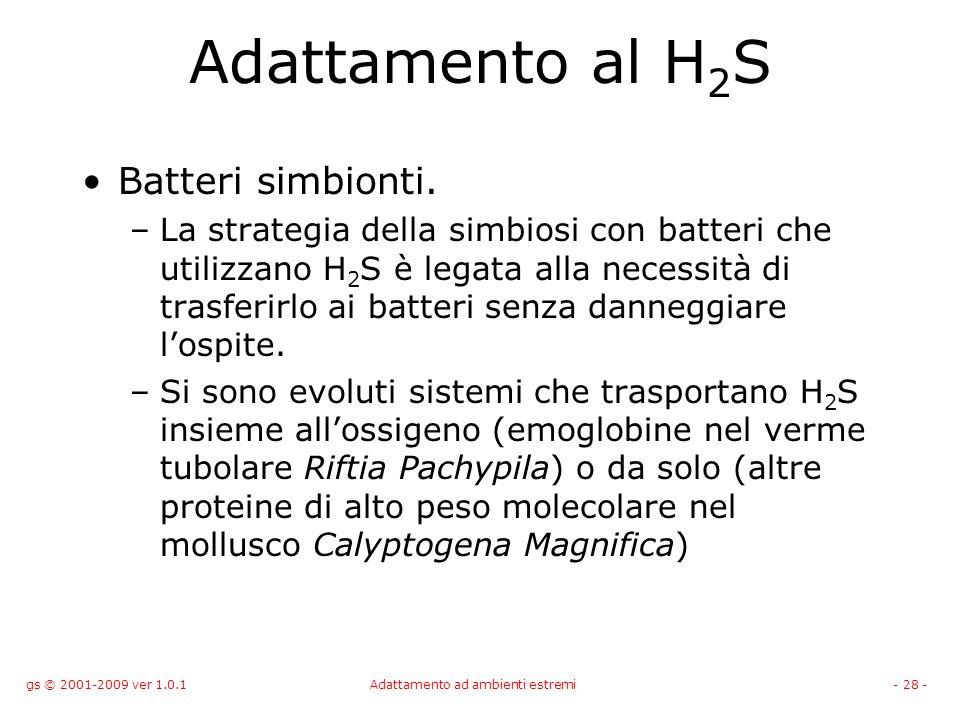 gs © 2001-2009 ver 1.0.1Adattamento ad ambienti estremi- 28 - Adattamento al H 2 S Batteri simbionti. –La strategia della simbiosi con batteri che uti