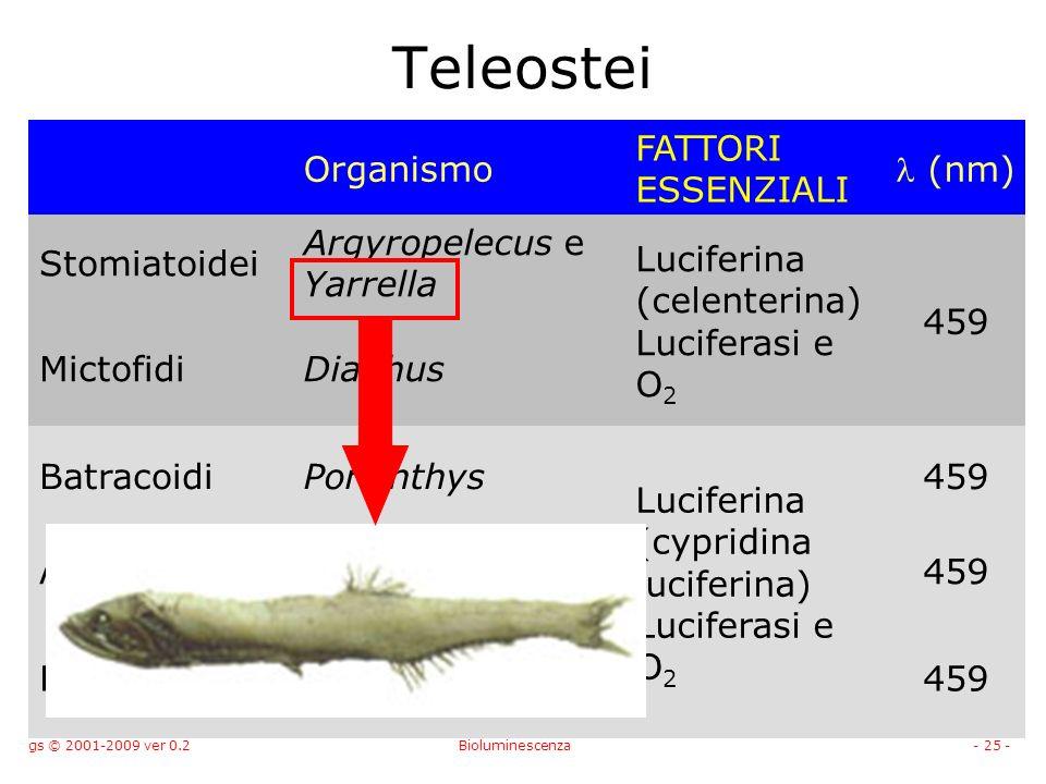 gs © 2001-2009 ver 0.2Bioluminescenza- 25 - Teleostei Organismo FATTORI ESSENZIALI (nm) Stomiatoidei Argyropelecus e Yarrella Luciferina (celenterina) Luciferasi e O 2 459 MictofidiDiaphus BatracoidiPorichthys Luciferina (cypridina luciferina) Luciferasi e O 2 459 ApogonidiApogon459 PemperidiParapriacanthus459