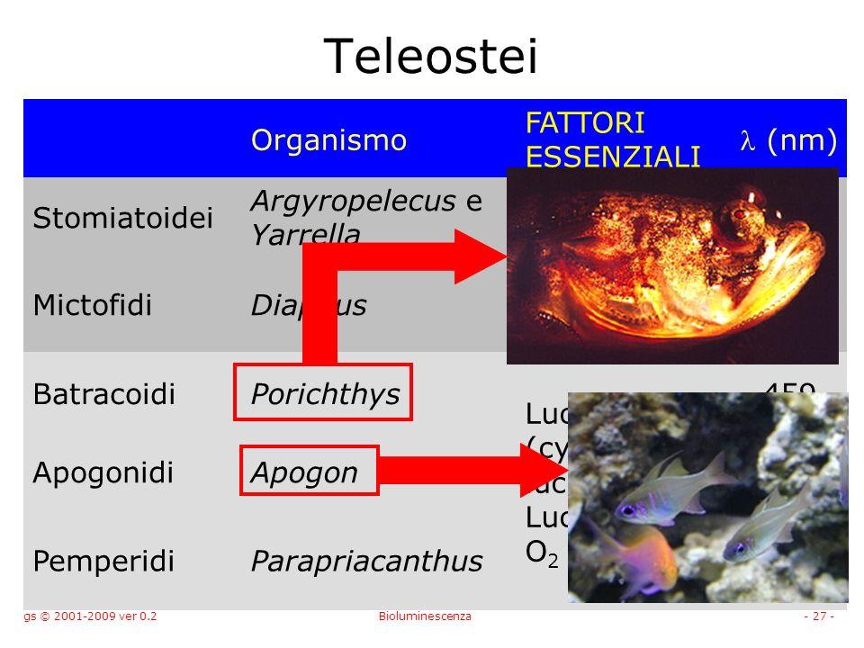gs © 2001-2009 ver 0.2Bioluminescenza- 27 - Teleostei Organismo FATTORI ESSENZIALI (nm) Stomiatoidei Argyropelecus e Yarrella Luciferina (celenterina) Luciferasi e O 2 459 MictofidiDiaphus BatracoidiPorichthys Luciferina (cypridina luciferina) Luciferasi e O 2 459 ApogonidiApogon459 PemperidiParapriacanthus459