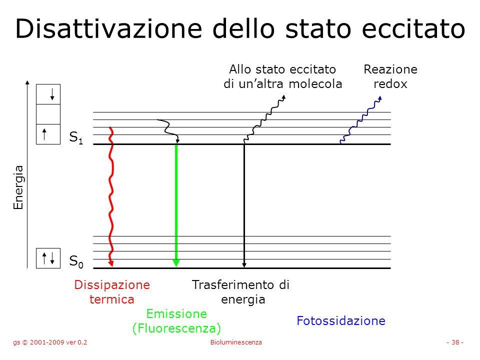 gs © 2001-2009 ver 0.2Bioluminescenza- 38 - Disattivazione dello stato eccitato S0S0 S1S1 Energia Dissipazione termica Emissione (Fluorescenza) Trasferimento di energia Fotossidazione Allo stato eccitato di unaltra molecola Reazione redox