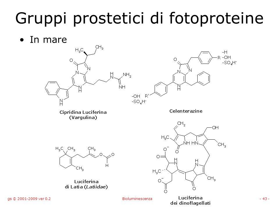 gs © 2001-2009 ver 0.2Bioluminescenza- 43 - Gruppi prostetici di fotoproteine In mare