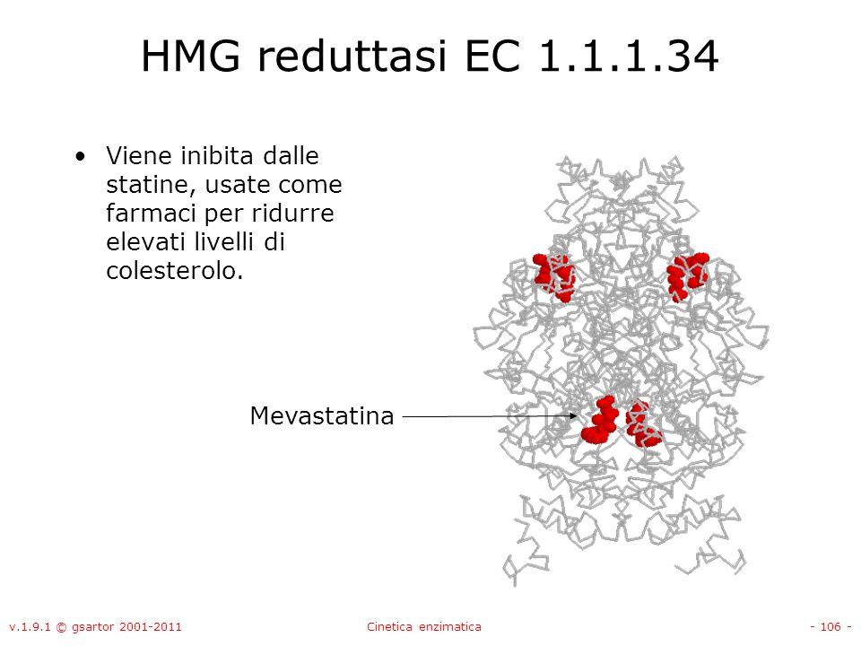 v.1.9.1 © gsartor 2001-2011Cinetica enzimatica- 106 - HMG reduttasi EC 1.1.1.34 Viene inibita dalle statine, usate come farmaci per ridurre elevati li