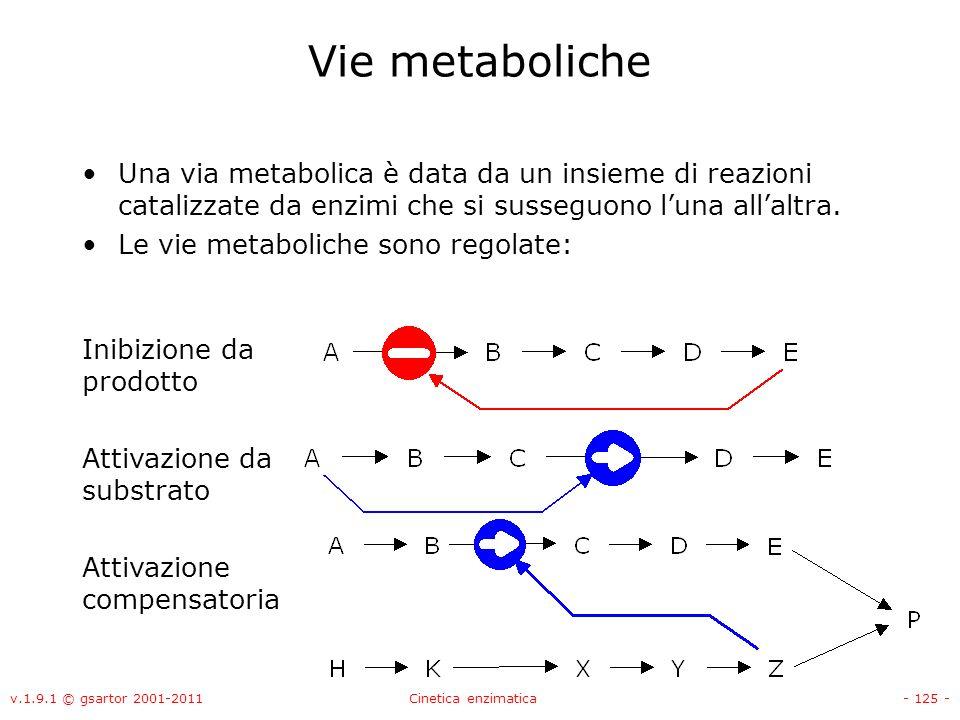 v.1.9.1 © gsartor 2001-2011Cinetica enzimatica- 125 - Vie metaboliche Una via metabolica è data da un insieme di reazioni catalizzate da enzimi che si