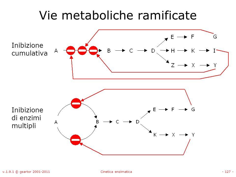 v.1.9.1 © gsartor 2001-2011Cinetica enzimatica- 127 - Vie metaboliche ramificate Inibizione cumulativa Inibizione di enzimi multipli