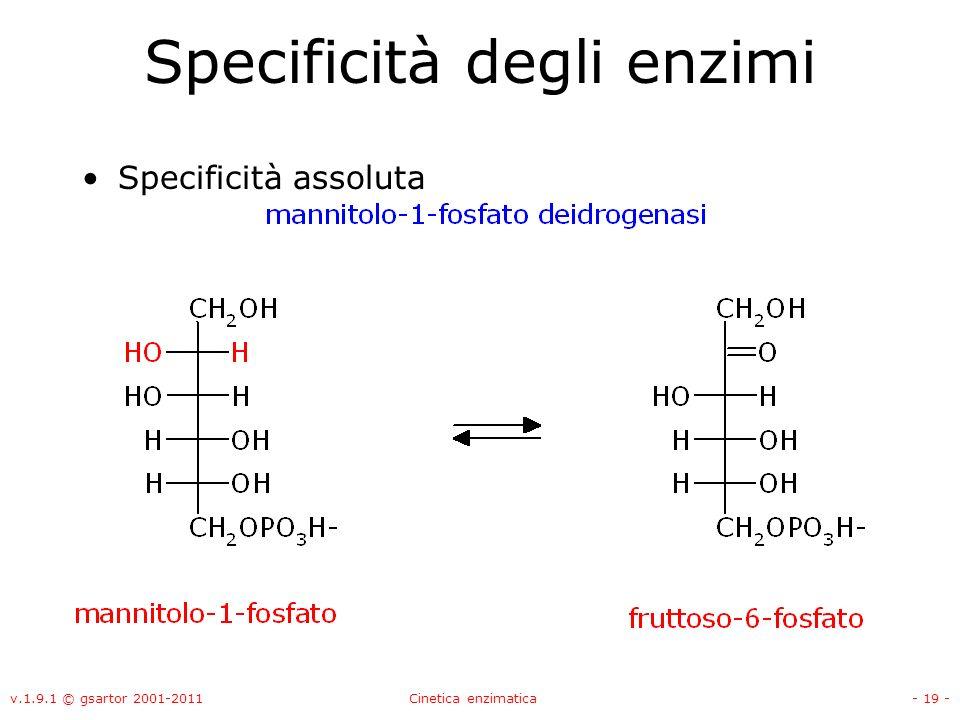 v.1.9.1 © gsartor 2001-2011Cinetica enzimatica- 19 - Specificità degli enzimi Specificità assoluta