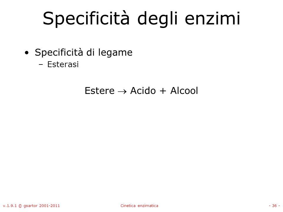 v.1.9.1 © gsartor 2001-2011Cinetica enzimatica- 36 - Specificità degli enzimi Specificità di legame –Esterasi Estere Acido + Alcool