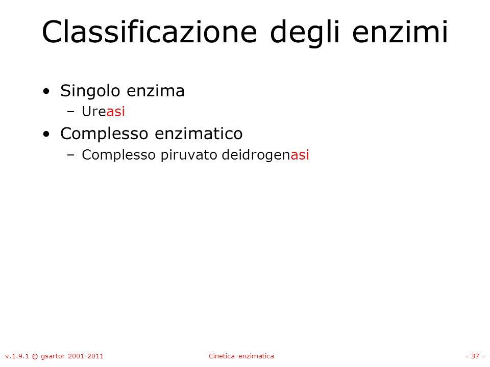 v.1.9.1 © gsartor 2001-2011Cinetica enzimatica- 37 - Classificazione degli enzimi Singolo enzima –Ureasi Complesso enzimatico –Complesso piruvato deid