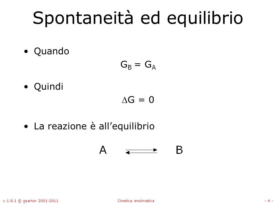 v.1.9.1 © gsartor 2001-2011Cinetica enzimatica- 4 - Spontaneità ed equilibrio Quando G B = G A Quindi G = 0 La reazione è allequilibrio