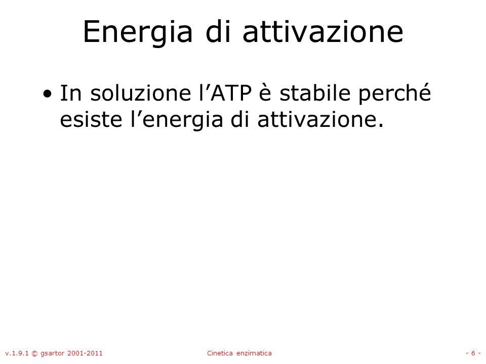 v.1.9.1 © gsartor 2001-2011Cinetica enzimatica- 77 - EnzimaSorgenteSubstratoKm (mM) n° di turnover (1/s) Acetil-CoA sintasiCuore di bueAcetato1.4 ATP-asiMuscolo di coniglioATP0.014 Alcool deidrogenasiFegato di cavalloEtanolo0.5 Anidrasi carbonicaEritrocitiAnidride carbonica7.51000000 Aspartato aminotransferasiCuore di maiale Acido aspartico0.9 Acido -chetoglutarico 0.1 Acido ossalacetico0.04 acido glutammico4 Butirril-CoA deidrogenasiFegato di bueButirril-CoA0.014 ChimotripsinaPancreas bovino N-benziltirosinamide2.5 N-formiltirosinamide12 N-acetiltirosinamide32 gliciltirosinamide122 Creatina fosfochinasiMuscolo di coniglioCreatina19 EsochinasiLievitoGlucosio0.15 EsochinasiCervelloGlucosio0.008 Fosfatasi acidaProstata -glicerofosfato 3 Fosfogliceraldeide deidrogenasiMuscolo di coniglioGliceraldeide-3-fosfato0.05 Glutamato deidrogenasiFegato bovino Acido glutammico0.12 Acido -chetoglutarico 2 Ione ammonio57 NAD+0.025 NADH0.018 Xantina ossidasiLatte Xantina0.03 Acetaldeide1000