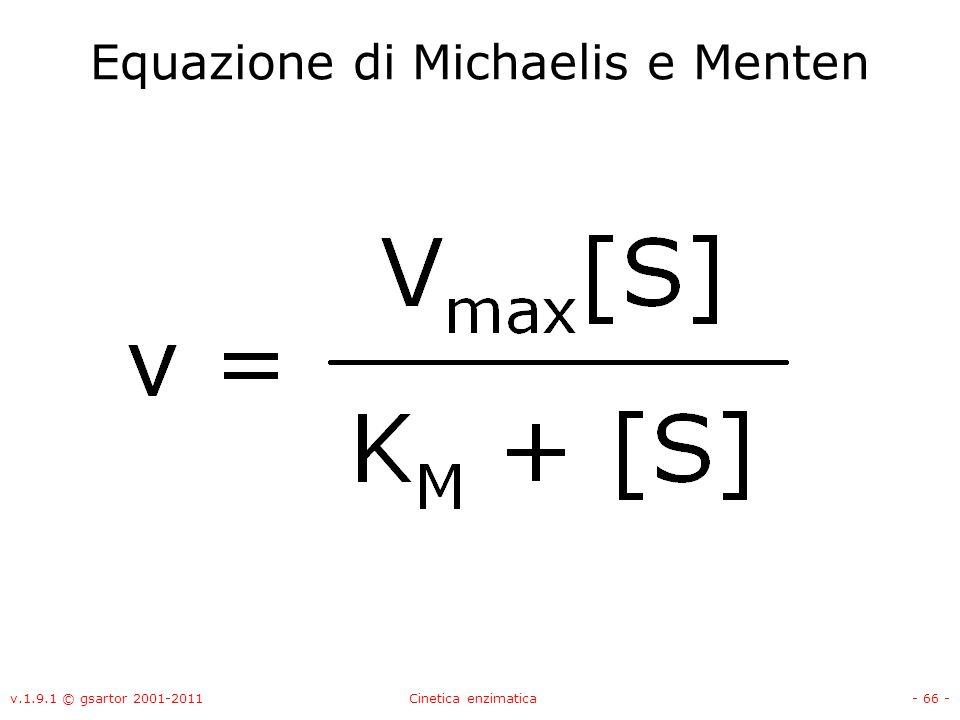 v.1.9.1 © gsartor 2001-2011Cinetica enzimatica- 66 - Equazione di Michaelis e Menten