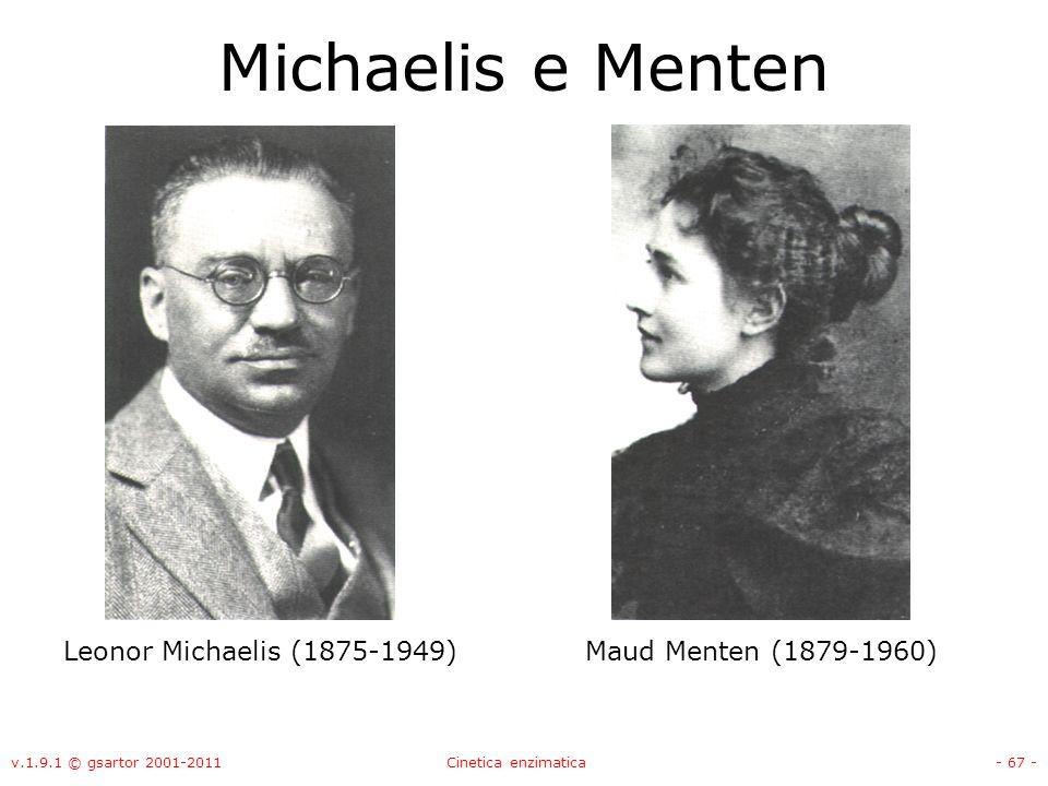 v.1.9.1 © gsartor 2001-2011Cinetica enzimatica- 67 - Michaelis e Menten Leonor Michaelis (1875-1949)Maud Menten (1879-1960)