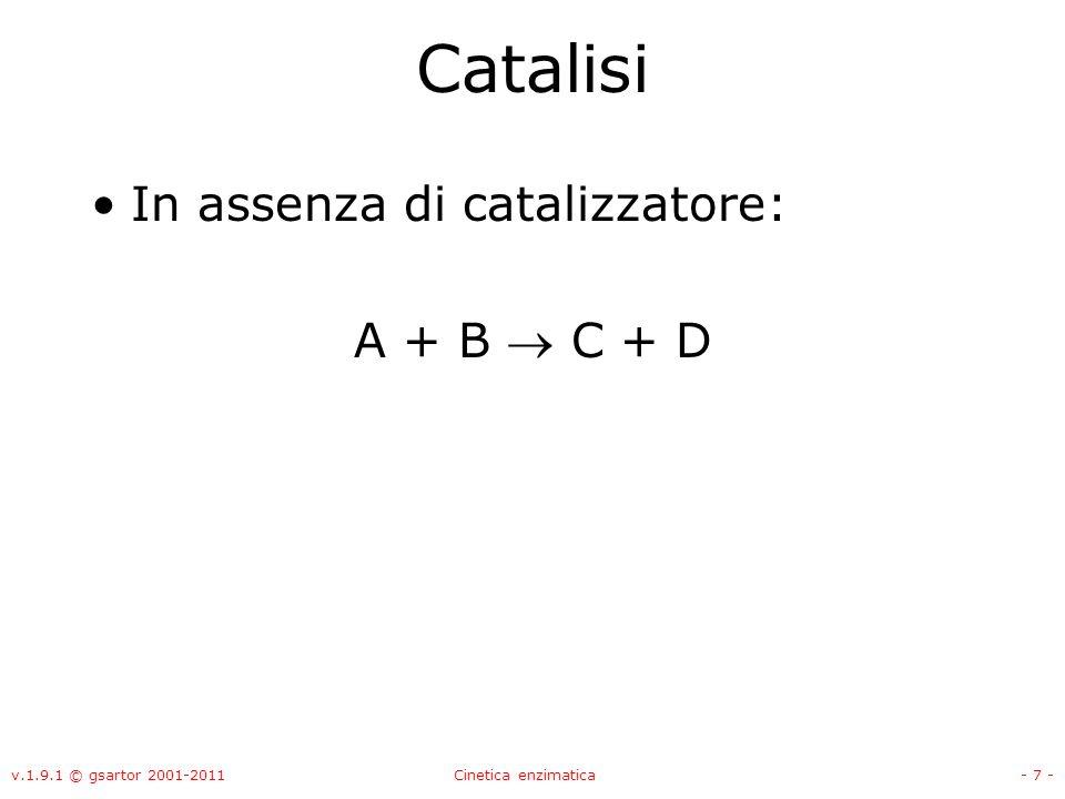 v.1.9.1 © gsartor 2001-2011Cinetica enzimatica- 68 - Efficienza catalitica o numero di turnover k 2 è detta anche k cat e si ottiene: k 2 è detto anche numero di turnover (Moli di substrato consumate per secondo per moli di enzima) si esprime in s -1.