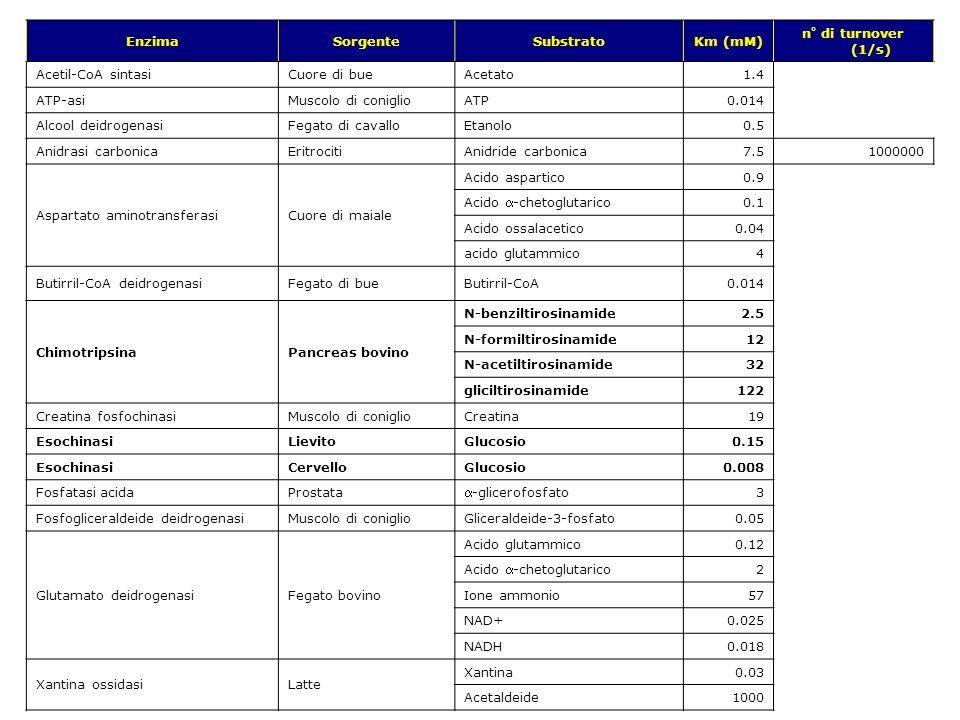 v.1.9.1 © gsartor 2001-2011Cinetica enzimatica- 75 - EnzimaSorgenteSubstratoKm (mM) n° di turnover (1/s) Acetil-CoA sintasiCuore di bueAcetato1.4 ATP-