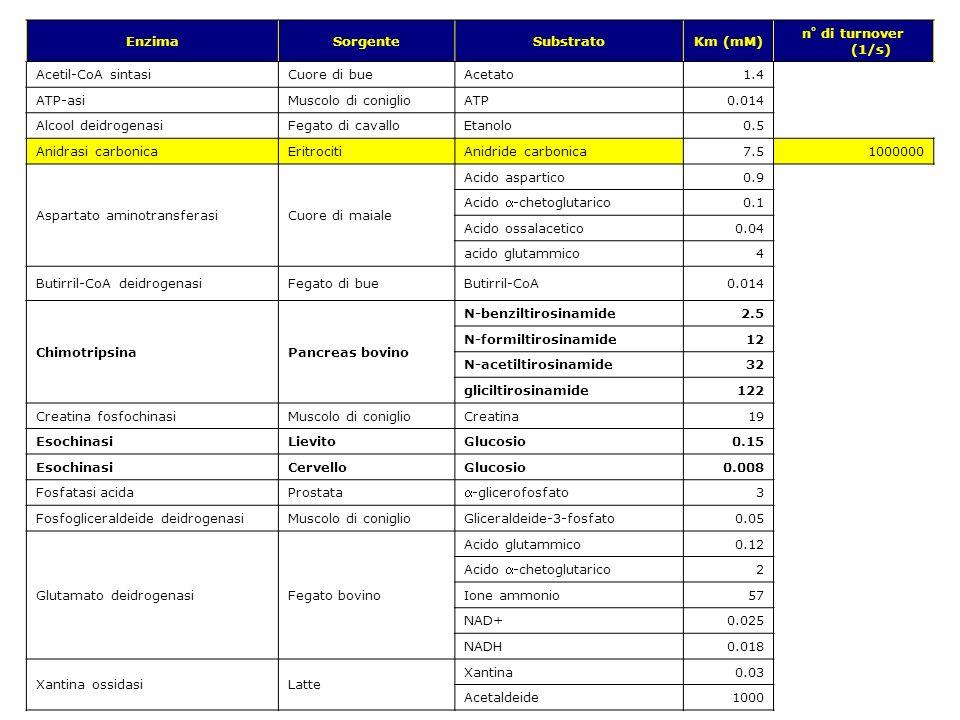 v.1.9.1 © gsartor 2001-2011Cinetica enzimatica- 77 - EnzimaSorgenteSubstratoKm (mM) n° di turnover (1/s) Acetil-CoA sintasiCuore di bueAcetato1.4 ATP-