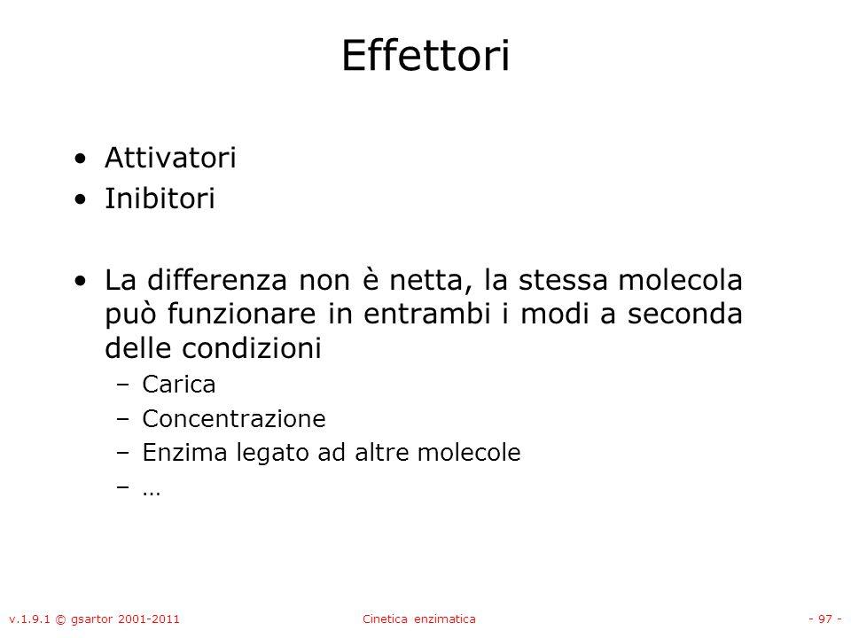 v.1.9.1 © gsartor 2001-2011Cinetica enzimatica- 97 - Effettori Attivatori Inibitori La differenza non è netta, la stessa molecola può funzionare in en