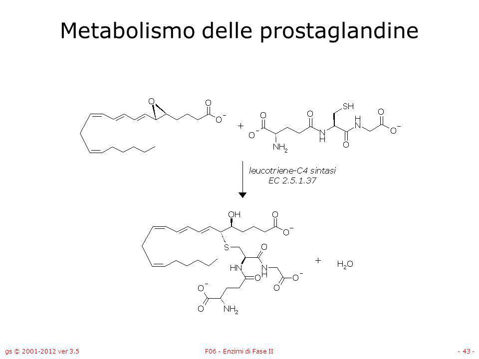 gs © 2001-2012 ver 3.5F06 - Enzimi di Fase II- 44 - Due tipi di reazione con il GSH –Spiazzamento di alogeni, solfati, solfonati, fosfati, nitrogruppi –Il glutatione viene addizionato a doppi legami attivati (epossidi) come nella sintesi delle prostaglandine.