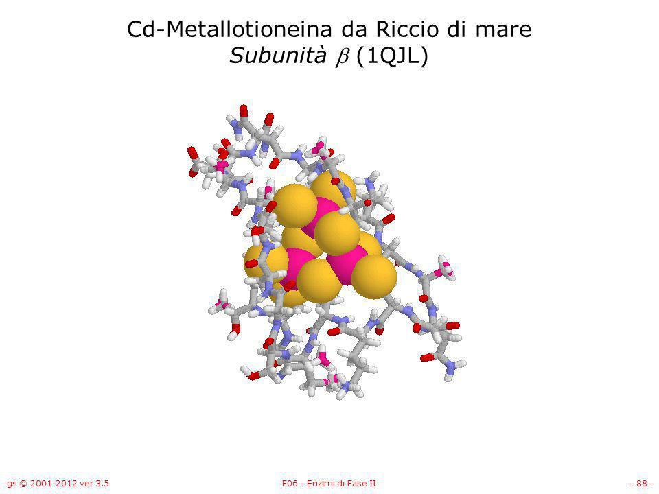 gs © 2001-2012 ver 3.5F06 - Enzimi di Fase II- 89 - Cd-Metallotioneina da Riccio di mare Subunità (1QJL)