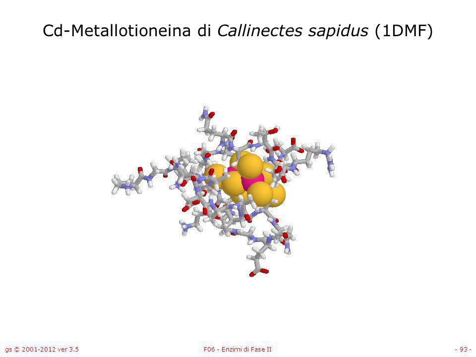 gs © 2001-2012 ver 3.5F06 - Enzimi di Fase II- 94 - Cd-Metallotioneina di Callinectes sapidus (1DMF)