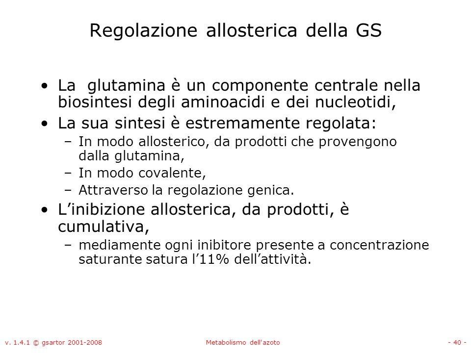 v. 1.4.1 © gsartor 2001-2008Metabolismo dell'azoto- 40 - Regolazione allosterica della GS La glutamina è un componente centrale nella biosintesi degli