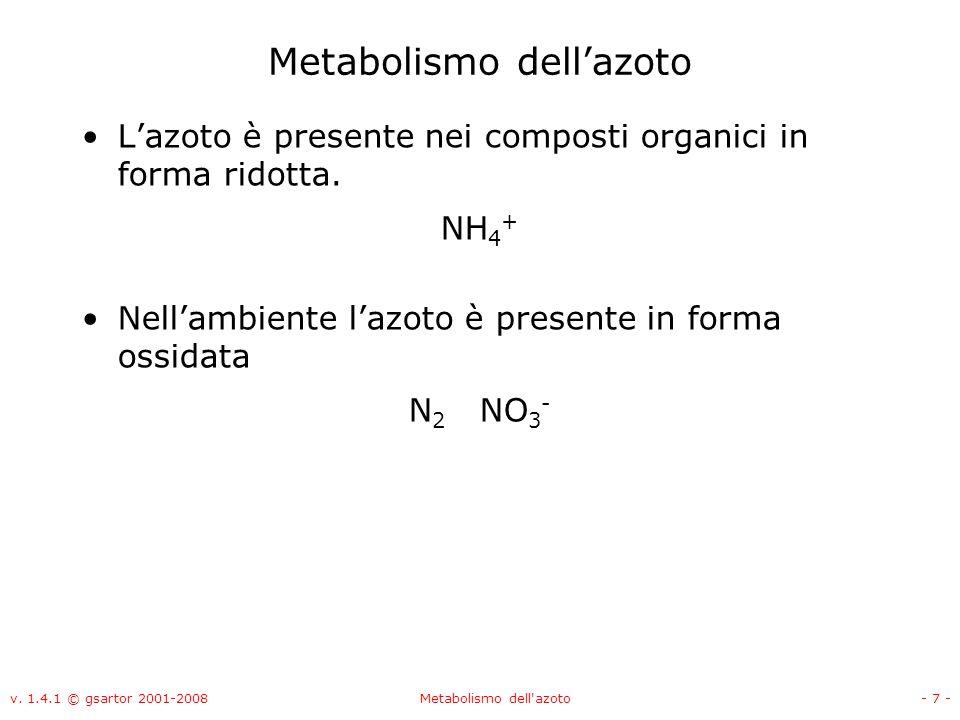 v. 1.4.1 © gsartor 2001-2008Metabolismo dell'azoto- 7 - Metabolismo dellazoto Lazoto è presente nei composti organici in forma ridotta. NH 4 + Nellamb