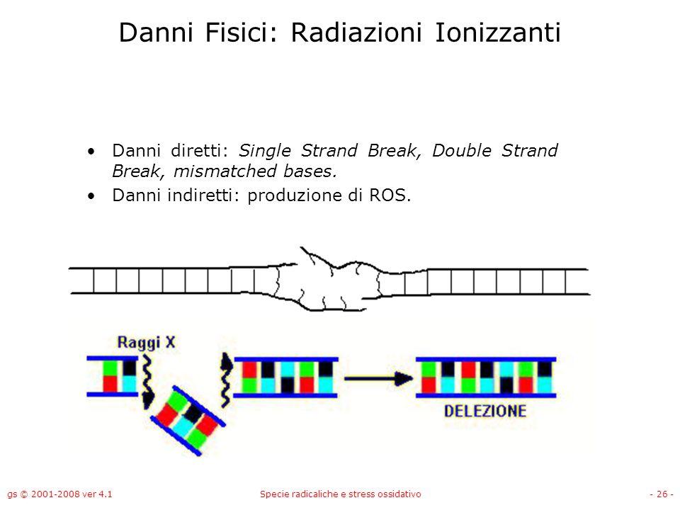 gs © 2001-2008 ver 4.1Specie radicaliche e stress ossidativo- 26 - Danni Fisici: Radiazioni Ionizzanti Danni diretti: Single Strand Break, Double Stra