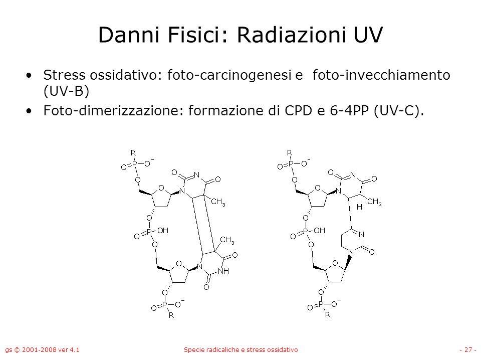 gs © 2001-2008 ver 4.1Specie radicaliche e stress ossidativo- 27 - Danni Fisici: Radiazioni UV Stress ossidativo: foto-carcinogenesi e foto-invecchiam