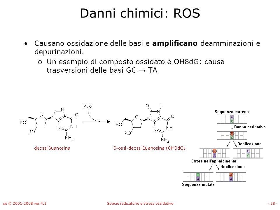 gs © 2001-2008 ver 4.1Specie radicaliche e stress ossidativo- 28 - Danni chimici: ROS Causano ossidazione delle basi e amplificano deamminazioni e dep