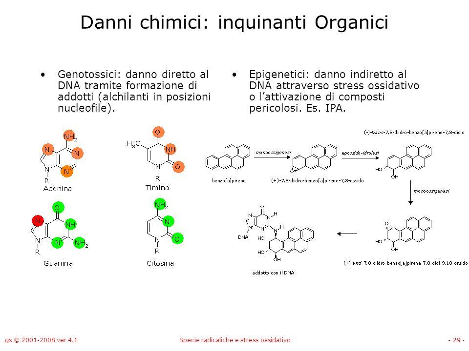 gs © 2001-2008 ver 4.1Specie radicaliche e stress ossidativo- 29 - Danni chimici: inquinanti Organici Genotossici: danno diretto al DNA tramite formaz