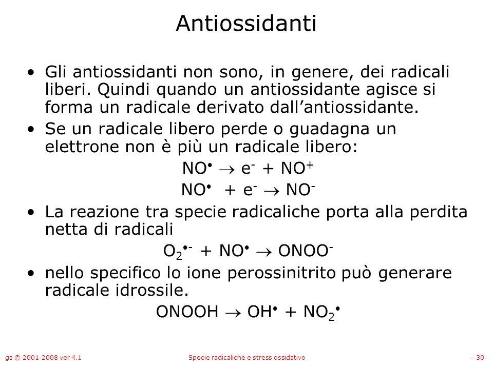 gs © 2001-2008 ver 4.1Specie radicaliche e stress ossidativo- 30 - Antiossidanti Gli antiossidanti non sono, in genere, dei radicali liberi. Quindi qu