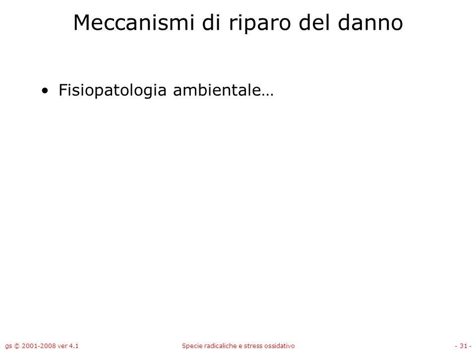 gs © 2001-2008 ver 4.1Specie radicaliche e stress ossidativo- 31 - Meccanismi di riparo del danno Fisiopatologia ambientale…