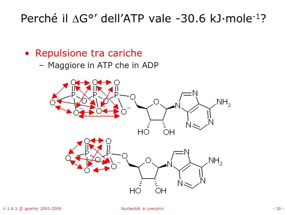 V.1.6.1 © gsartor 2001-2009Nucleotidi e coenzimi- 26 - Perché il G° dellATP vale -30.6 kJ·mole -1 ? Repulsione tra cariche –Maggiore in ATP che in ADP