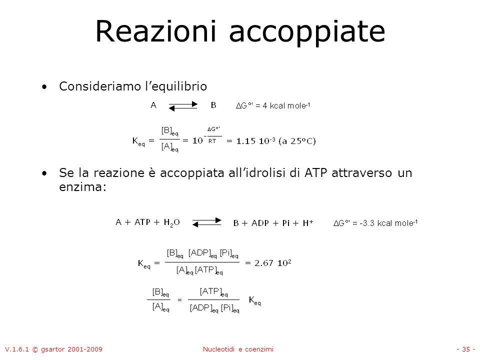 V.1.6.1 © gsartor 2001-2009Nucleotidi e coenzimi- 35 - Reazioni accoppiate Consideriamo lequilibrio Se la reazione è accoppiata allidrolisi di ATP att