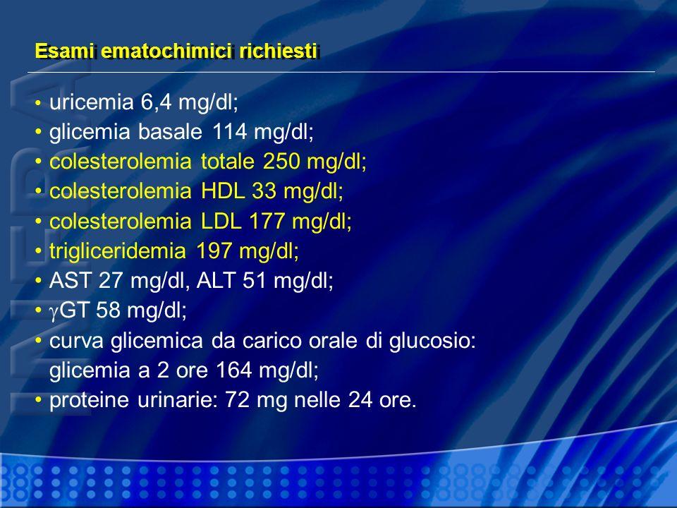 uricemia 6,4 mg/dl; glicemia basale 114 mg/dl; colesterolemia totale 250 mg/dl; colesterolemia HDL 33 mg/dl; colesterolemia LDL 177 mg/dl; triglicerid