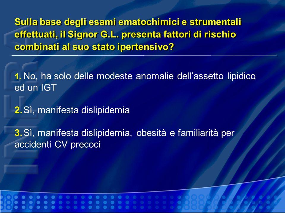 1. No, ha solo delle modeste anomalie dellassetto lipidico ed un IGT 2.Sì, manifesta dislipidemia 3.Sì, manifesta dislipidemia, obesità e familiarità