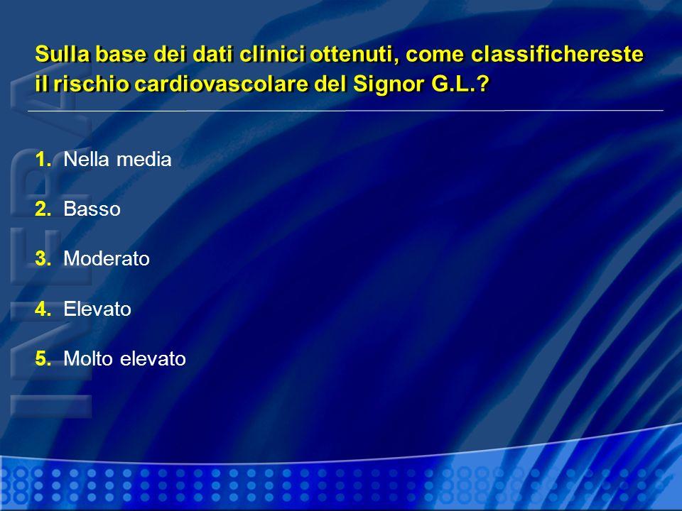 1.Nella media 2.Basso 3.Moderato 4.Elevato 5.Molto elevato Sulla base dei dati clinici ottenuti, come classifichereste il rischio cardiovascolare del