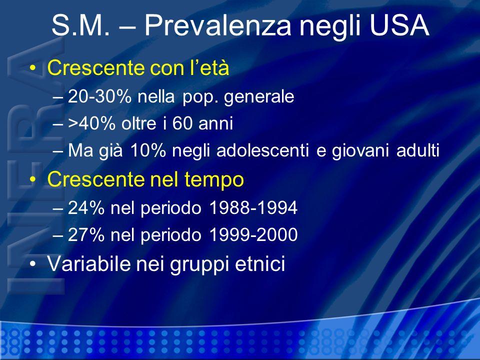 S.M. – Prevalenza negli USA Crescente con letà –20-30% nella pop. generale –>40% oltre i 60 anni –Ma già 10% negli adolescenti e giovani adulti Cresce