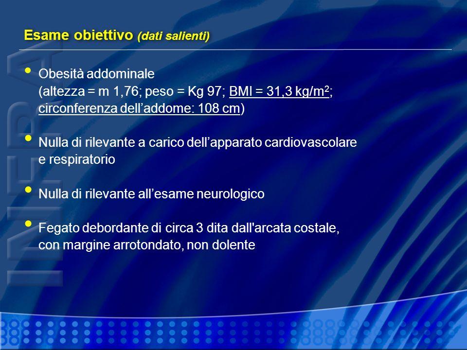 Obesità addominale (altezza = m 1,76; peso = Kg 97; BMI = 31,3 kg/m 2 ; circonferenza delladdome: 108 cm) Nulla di rilevante a carico dellapparato car