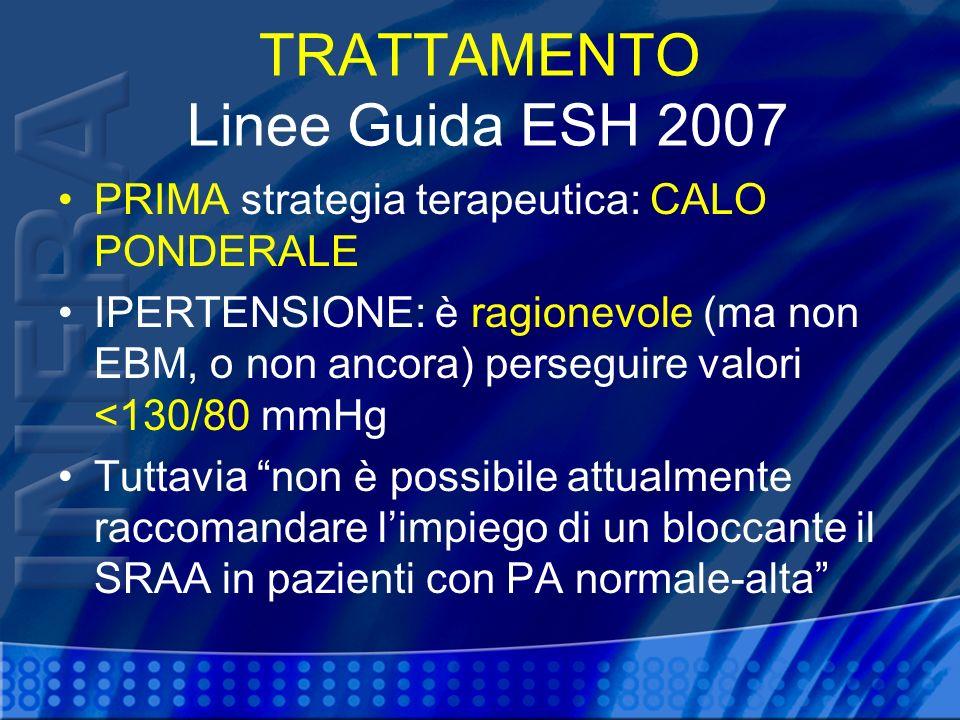 TRATTAMENTO Linee Guida ESH 2007 PRIMA strategia terapeutica: CALO PONDERALE IPERTENSIONE: è ragionevole (ma non EBM, o non ancora) perseguire valori