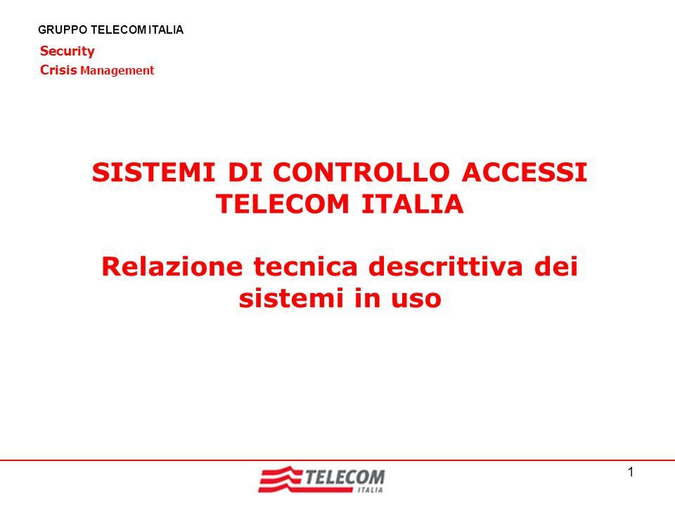 1 GRUPPO TELECOM ITALIA SISTEMI DI CONTROLLO ACCESSI TELECOM ITALIA Relazione tecnica descrittiva dei sistemi in uso Security Crisis Management
