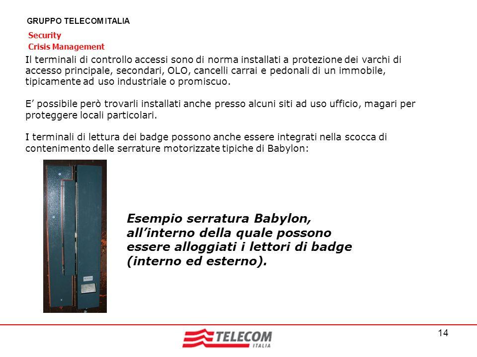 14 GRUPPO TELECOM ITALIA Security Crisis Management Il terminali di controllo accessi sono di norma installati a protezione dei varchi di accesso prin