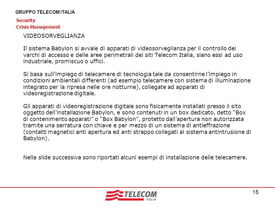 15 GRUPPO TELECOM ITALIA Security Crisis Management VIDEOSORVEGLIANZA Il sistema Babylon si avvale di apparati di videosorveglianza per il controllo d