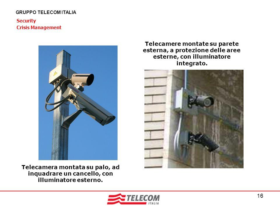 16 GRUPPO TELECOM ITALIA Security Crisis Management Telecamera montata su palo, ad inquadrare un cancello, con illuminatore esterno. Telecamere montat
