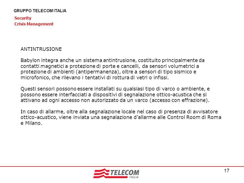17 GRUPPO TELECOM ITALIA Security Crisis Management ANTINTRUSIONE Babylon integra anche un sistema antintrusione, costituito principalmente da contatt
