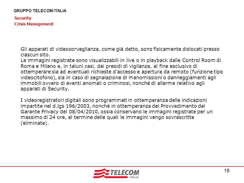 19 GRUPPO TELECOM ITALIA Security Crisis Management Gli apparati di videosorveglianza, come già detto, sono fisicamente dislocati presso ciascun sito.