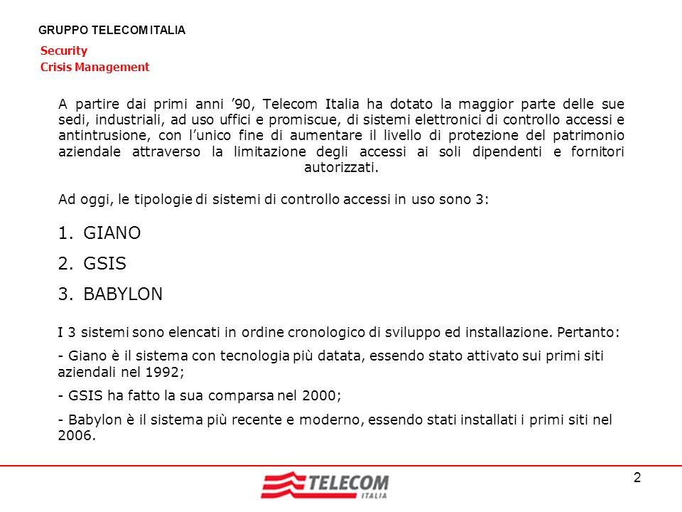 2 GRUPPO TELECOM ITALIA Security Crisis Management A partire dai primi anni 90, Telecom Italia ha dotato la maggior parte delle sue sedi, industriali,