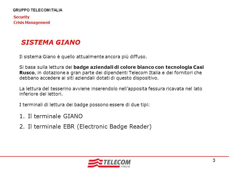 3 GRUPPO TELECOM ITALIA Security Crisis Management Il sistema Giano è quello attualmente ancora più diffuso. Si basa sulla lettura dei badge aziendali